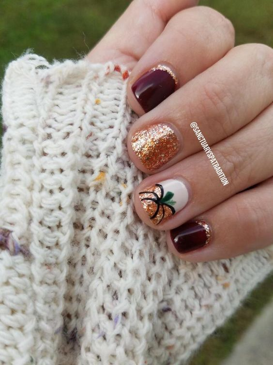 60 Must Try Nail Designs This Autumn With Images Autumn Nails Pumpkin Nails Thanksgiving Nails
