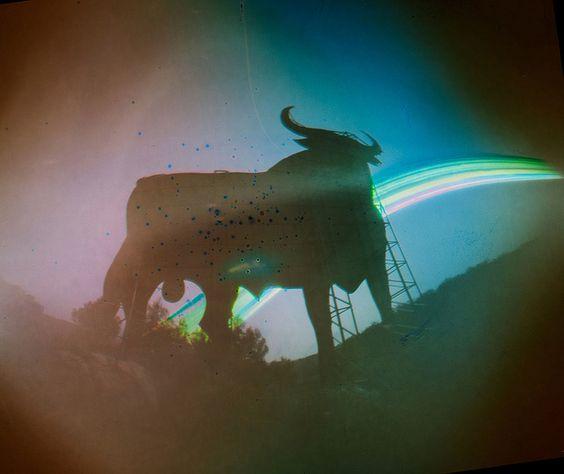 Toros al sol XII.  Silueta de toro en la carretera N-III. Honrubia. Tiempo de exposición: 04/11/2013- 14/01/2014  More info: solarigrafia.com   | Flickr: Intercambio de fotos