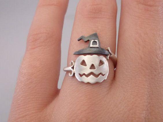 Calabaza Halloween joyería Jack-o-lantern anillo regalo de Halloween noche plata…: