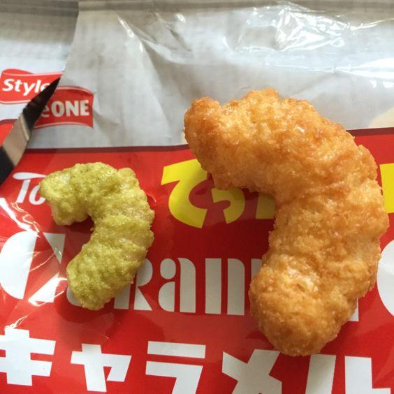 Japanese snacks: Tohato's Caramel Corn Jumbo Size and Uji Green Tea Flavour