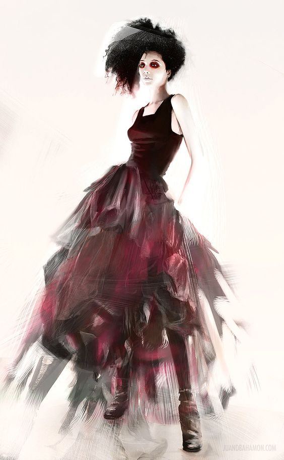 Fashion Illustration Painted On Top Of Some Cloth Textures