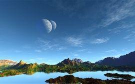 Art Landschaft, Berge, See, Planeten, blauer Himmel Hintergrundbilder Bilder Fotos