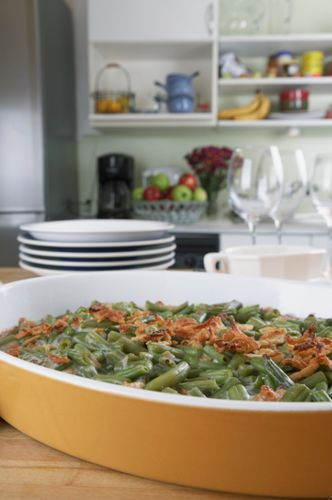 Best Ever Green Bean Casserole by Alton Brown  Ingredients  For the topping:  2 medium onions, thinly sliced 1/4 cup all-purpose flour 2 tab...
