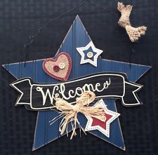 "NOW ON SALE  $5 OFF ORDERS $30+ 11¾"" Wooden Star Hanging Decor July 4th Military Beach House Gr8t 4 mesh wreaths"