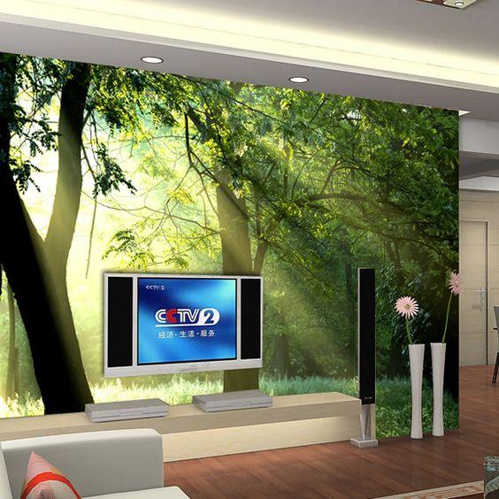 Parede tv mural sala papel de parede 3d n o tecido pintura for Colocar papel mural
