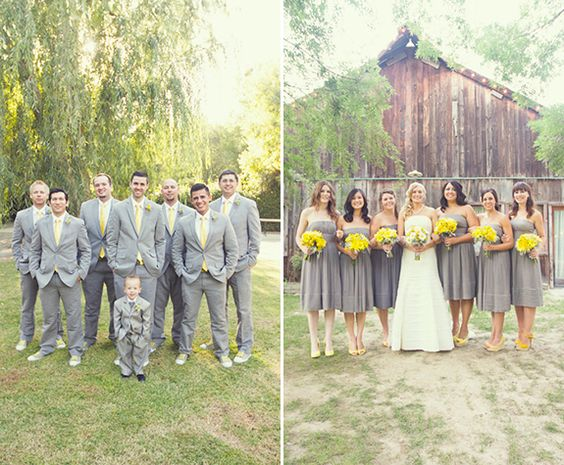 A Pretty Modern-Rustic Yellow and Gray Wedding at The Grove | Gelb ...