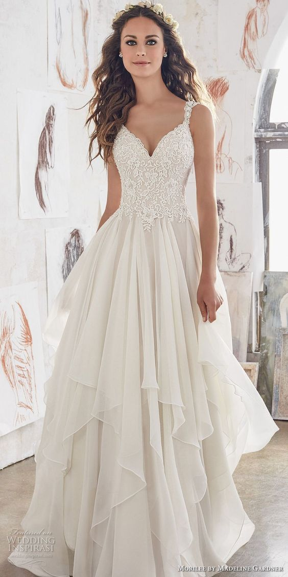morilee spring 2017 bridal sleeveless strap sweetheart neckline heavily embellished bodice layered skirt romantic modified a  line wedding dress illusion lace back chapel train (5512) mv #wedding #bridal #weddingdress: