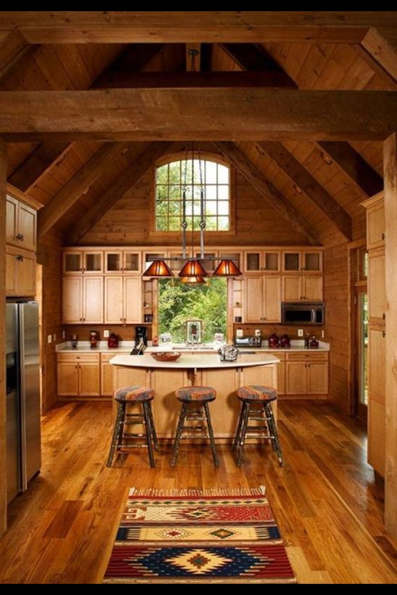 Log cabin kitchen home sweet home pinterest window for Small log cabin kitchens