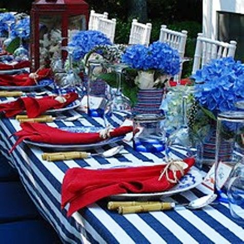 Festive 4th of July table setting.: