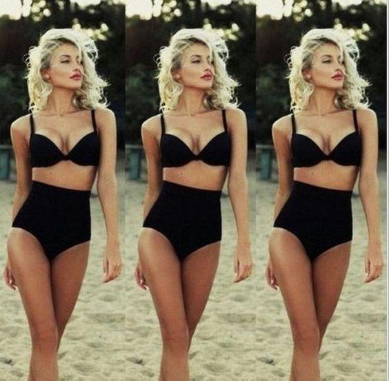 Classic Retro Style High Waist Padded Push Up 2 PC Bikini Bathing Suit S-XL