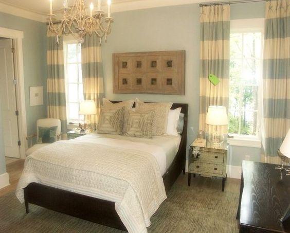 aqua/white stripe curtains.