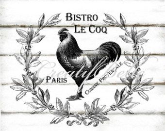 Vintage French Bistro Le Coq Rooster Large Black and White Instant Digital Download Printable Farm Style Fabric Transfer Graphic Image