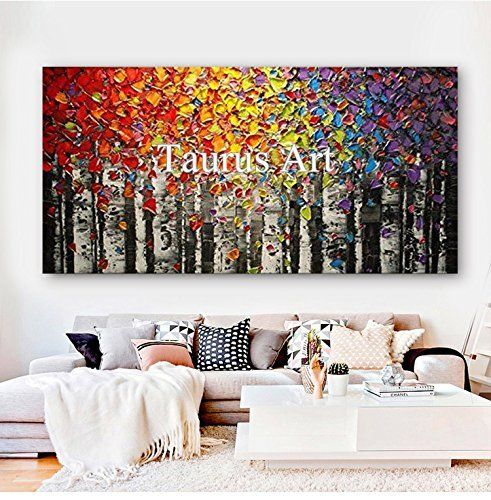 Faicai Art Canvas Wall Art Red Yellow Blue Purple Birch Oil Painting Wall Decor Pictures Hand Painte Hand Painted Wall Art Floral Oil Paintings Canvas Wall Art