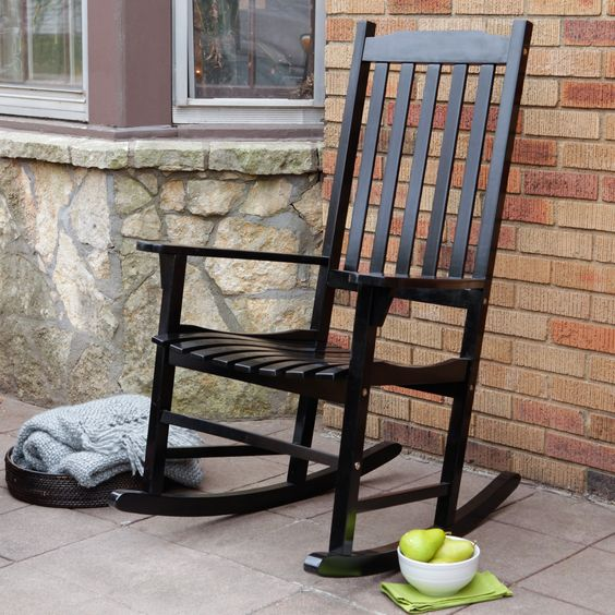 Coral Coast Indoor/Outdoor Mission Slat Rocking Chair - Black | from hayneedle.com: