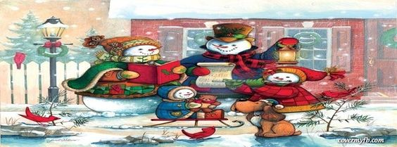 Caroling Snowman Family Facebook Covers, Caroling Snowman Family FB Covers, Caroling Snowman Family Facebook Timeline Covers, Caroling Snowman Family Facebook Cover Images
