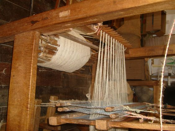 A traditional weaver's workshop and loom in Barichara, Colombia.