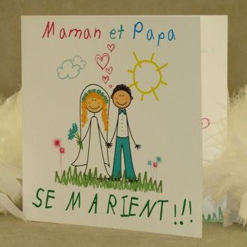 faire part mariage papa maman se marient fm01 enf 2 - Faire Part Mariage Papa Et Maman Se Marient