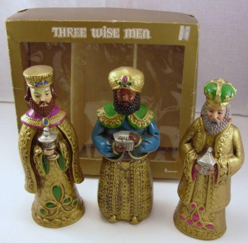 Vtg Three Wise Men Figurines Penneys w/box Japan Ceramic Nativity Manger