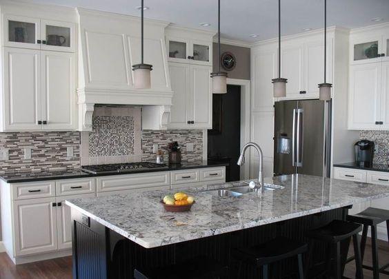 Best White Cabinets Black Island With Alaska White Granite 400 x 300