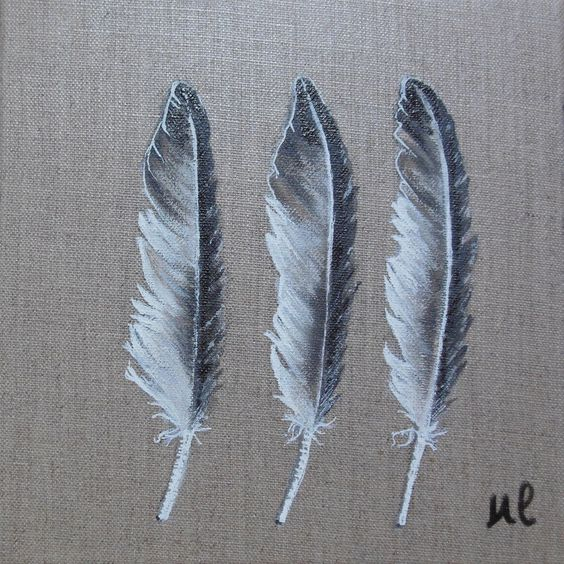 peinture de plumes l 39 acrylique sur toile de lin les 3 plumes est un tableau peint l. Black Bedroom Furniture Sets. Home Design Ideas