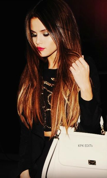 Selena Gomez;s ombre hair, okay i found one i'd do for normal ombre' when my hair grows another inch i'll try it