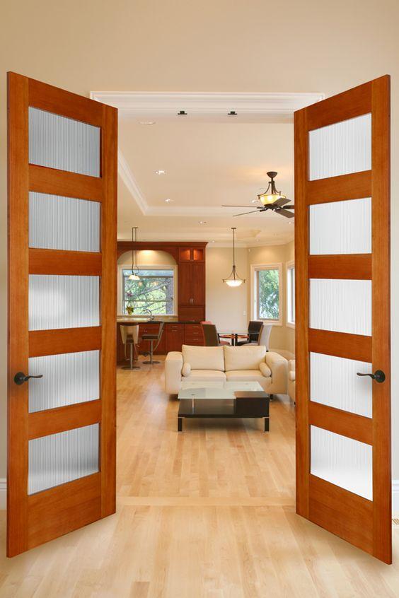 Narrow Lite Door : Fir lite french door with narrow reed glass