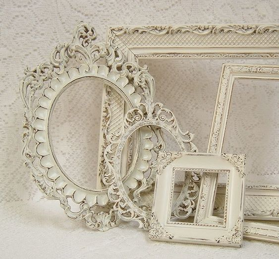 Picture Frames Shabby Chic Picture Frame Set Ornate Frames Ivory ...