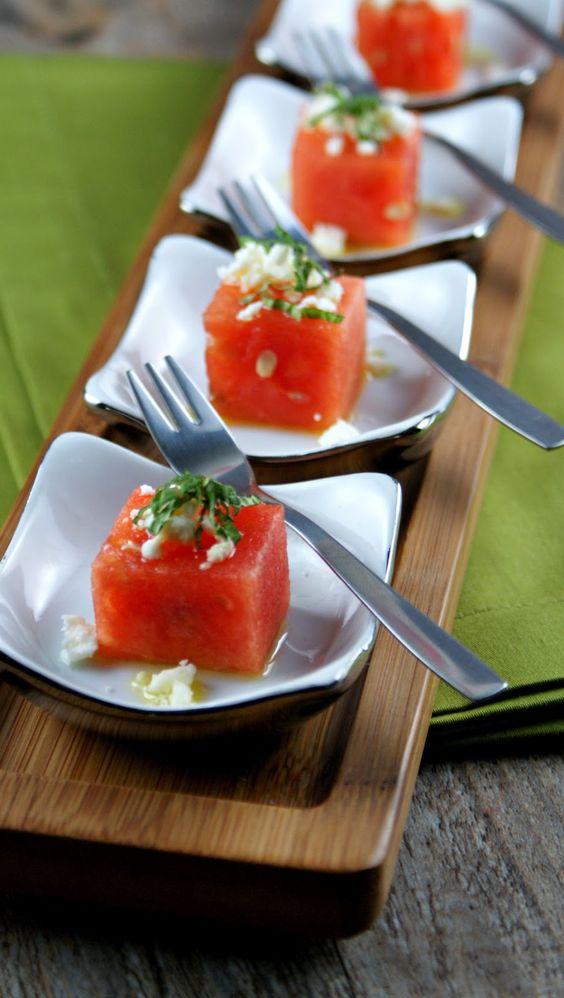 ... watermelon, feta, basil oil and mint. Yummy snack for a summer wedding