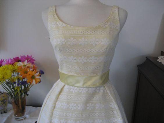 Yellow Lace Prom Dress by TweedandTaffeta on Etsy