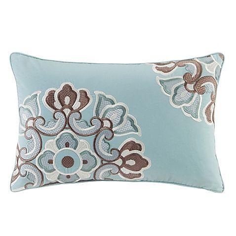 N Natori® Fretwork Oblong Throw Pillow in Grey Mist