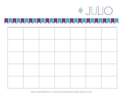 Calendario Julio Personalizable. Para imprimir Gratis, organizar tu vida y adornar tu escritorio #Printable #Calendar #Calendario #Espanol