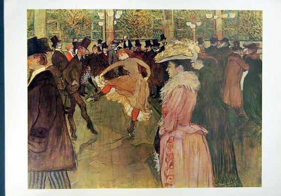 Toulouse-Lautrec Moulin Rouge | Antique Print of 1993 Toulouse Lautrec Art Dance Moulin Rouge