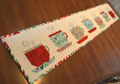 Happy Quilting: Hot, Hot, Hot Chocolate Table Runner This table runner is so cute!
