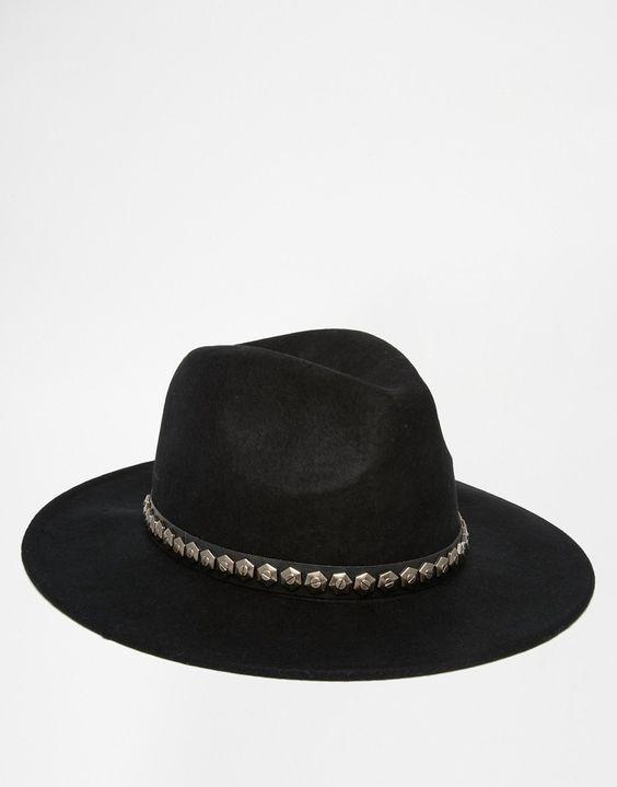 Imagen 3 de Sombrero fedora de fieltro con ribete de tachuelas de ASOS