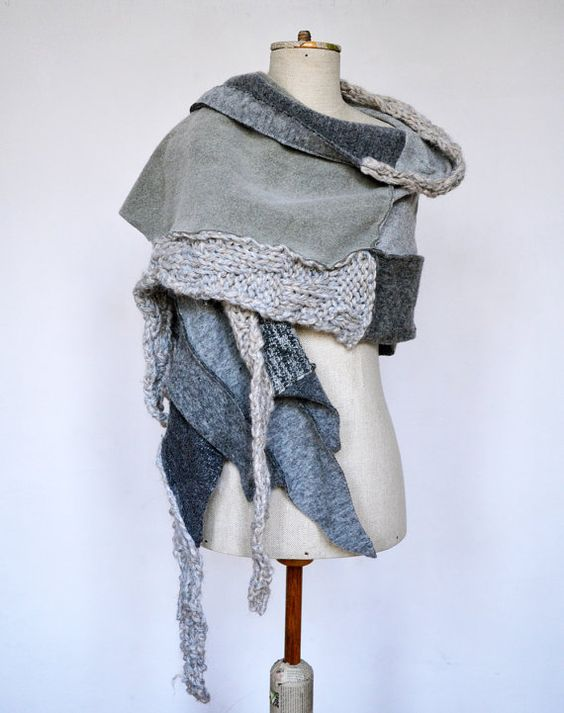 Wool Felt Hand knited shawl Cozy warm light grey ash by ZOJKAshop...I MUST make this!!!! OMG: