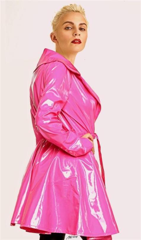 Pink Vinyl Lack Kleidung Rosa, Pink Plastic Trench Coat