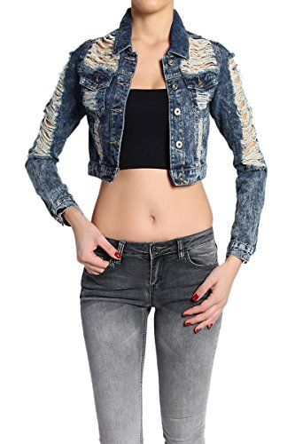TheMogan Women's Vintage Distressed Washed Denim Jacket Dark S ** Learn more by visiting the image link.