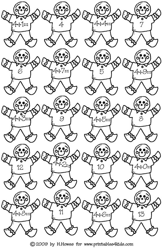gingerbread math addition facts 4s printables for kids free word search puzzles coloring