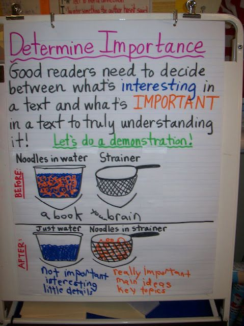 Determining Importance | Reading Anchor Charts | Pinterest