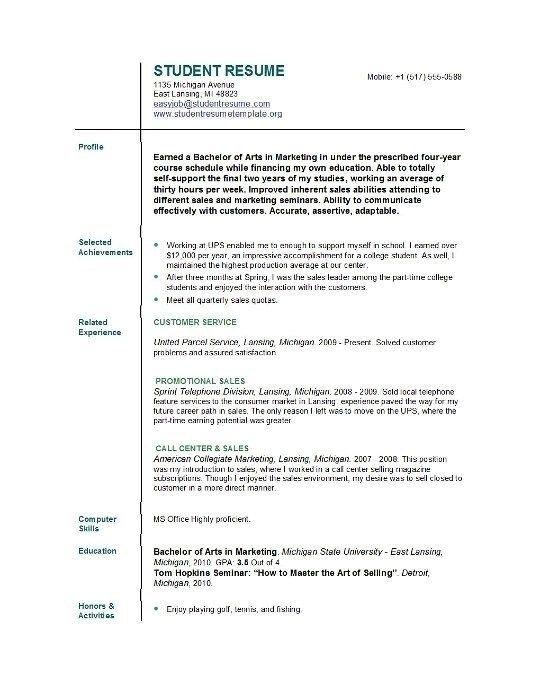 College Graduate Cv Template Templatefreeml Student Resume Template Student Resume College Resume Template