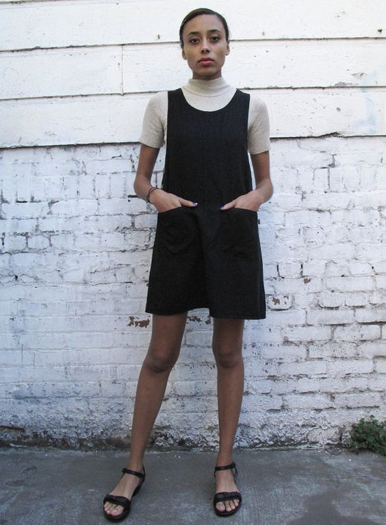 Vintage Black 1990's Overall Pinafore by mothersdaughtershop, $55.00