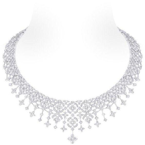 White gold necklace, 1 Louis Vuitton cut diamond (2.58 kt), 953 Diamonds (14.05 kt)