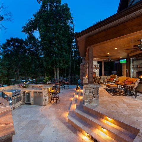 Step Down Covered Patio Design Ideas Pictures Remodel And Decor Outdoor Kitchen Design Patio Patio Design