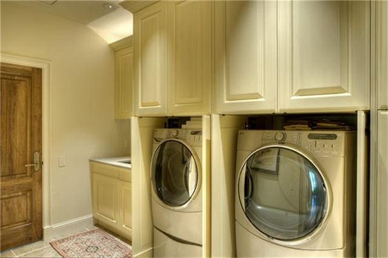 Cabinetry Shuts To Conceal The Washer Dryer When Not In