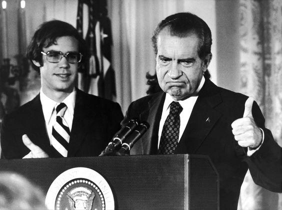 Former President Richard Nixon giving a thumbs-up post-resignation (1974)