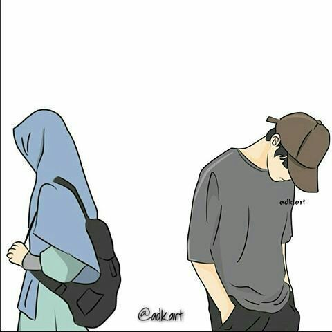 Gambar Kartun Muslimah Couple Romantis Terpisah