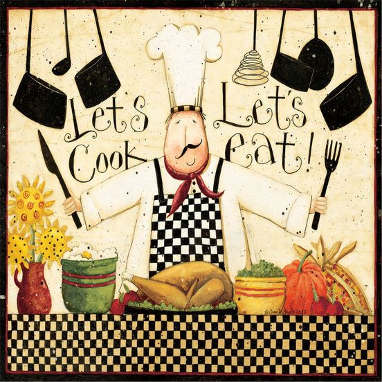 Dan Dipaolo Let s Cook Keilrahmen-Bild 50x50 Leinwand Koche Küche - bilder für die küche