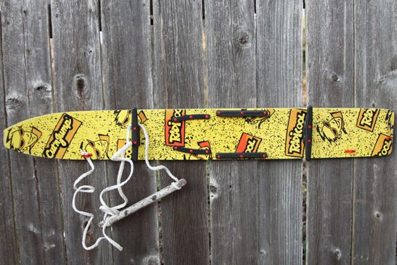 Vintage 80s Yellow / Orange Wooden Waterski Wall Rack for Coats/Jackets/Hats/Wetsuits