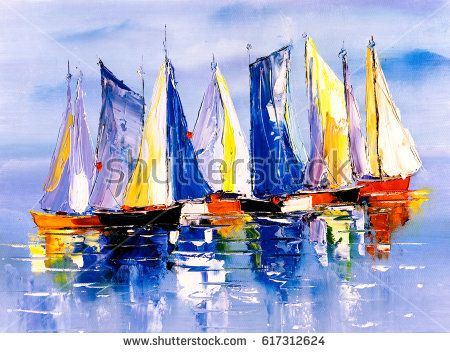 Oil Painting Boat Painting Beginner Painting Canvas Art Prints