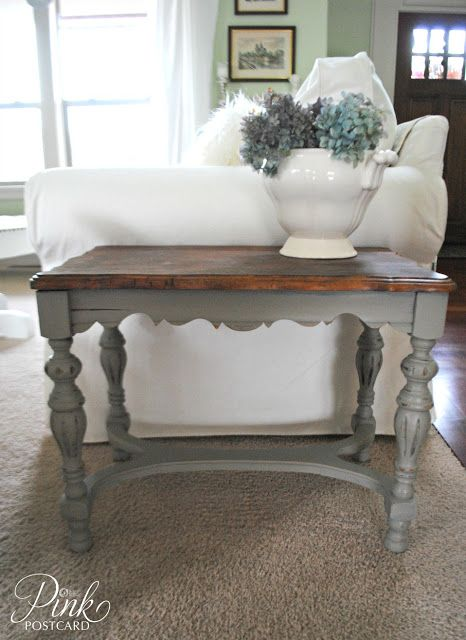 "I have a similar table that I ""white washed"". Its totally awesome - if I do say so myself, HA HA. Seriously now ... I'm in love with two tone. white with dark top ♥♥♥"